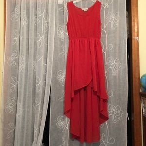 Hot orange / red high low summer dress